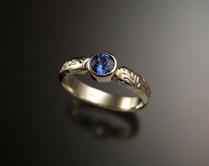 Sapphire Powder Blue Natural stone Victorian floral pattern Wedding Engagement ring crafted in 14k white Gold made to order in your size