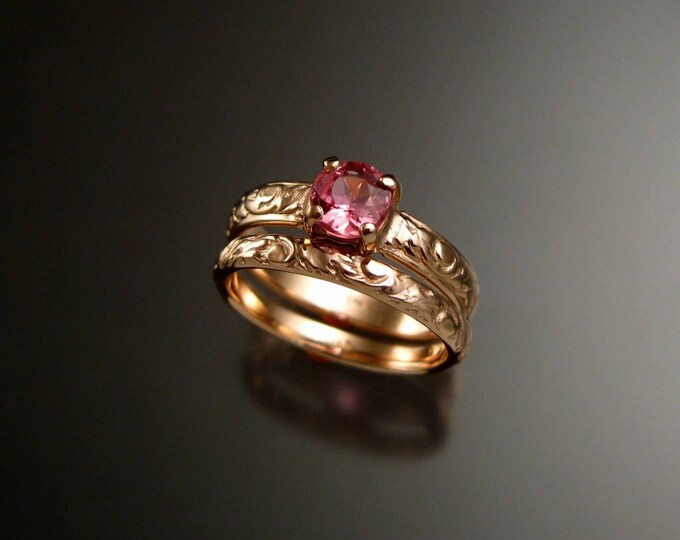 Pink Tourmaline wedding ring set 14k Rose Gold Victorian floral pattern engagement rings