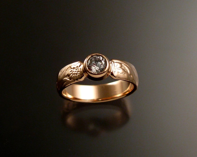 White Sapphire Rose Gold flower and vine pattern Diamond substitute Victorian 14k wedding ring made to order in your size ring