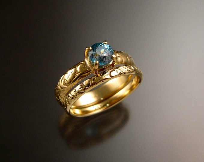 Blue Zircon 5.5mm round Wedding ring set 14k Yellow Gold blue Diamond substitute rings made to order in your size