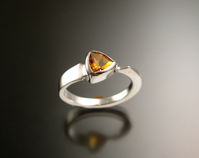 Citrine triangle ring 14k white Gold bezel set Stone Asymmetrical setting made to order in your Size