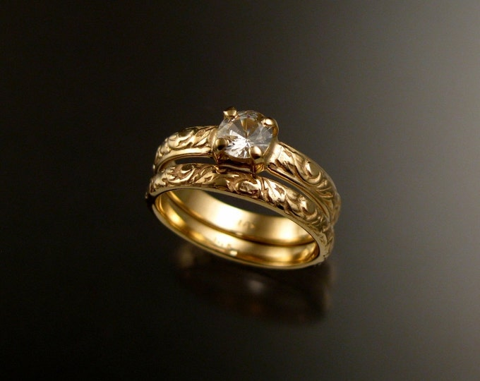 White Sapphire Wedding set 14k Yellow Gold Diamond substitute Victorian ring set made to order in your size
