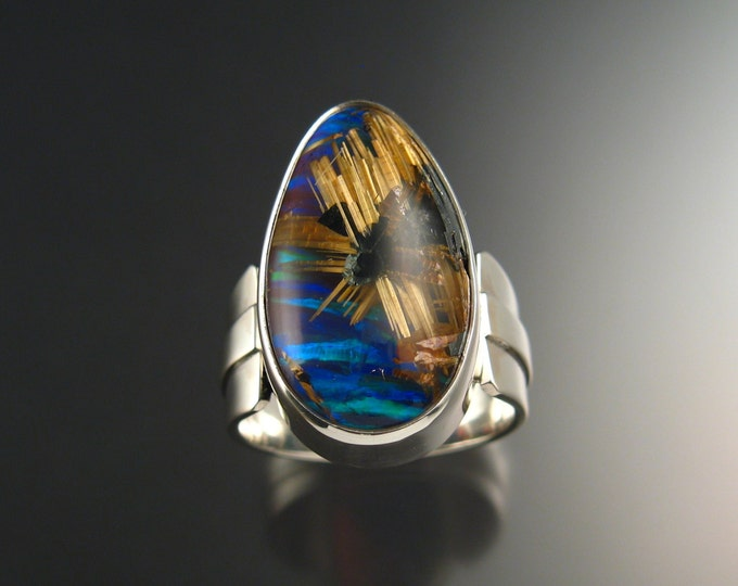 Rutilated Quartz and Blue Lab Opal Doublet ring Extra large size 13 Sterling Silver handmade statement ring