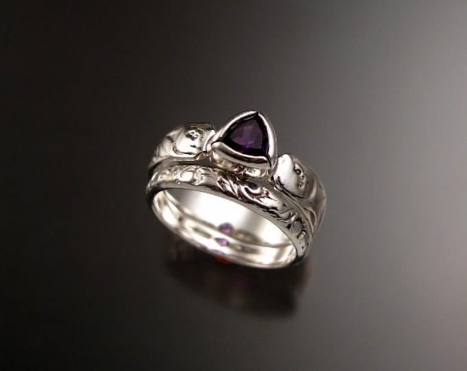 Amethyst Wedding set 14k White Gold 5mm triangle stone Victorian floral pattern ring handmade to order in your size