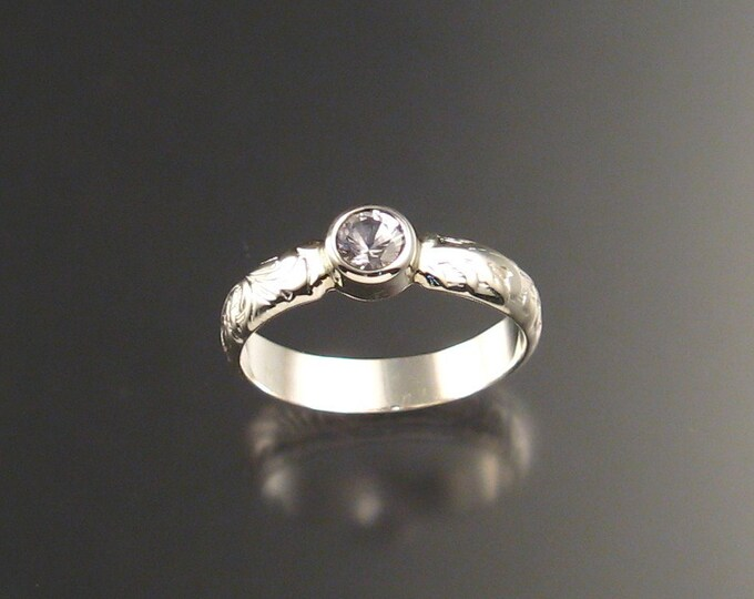 White Sapphire Ring  4 1/2mm round stone set in Sterling Silver made to order in your size Diamond substitute ring