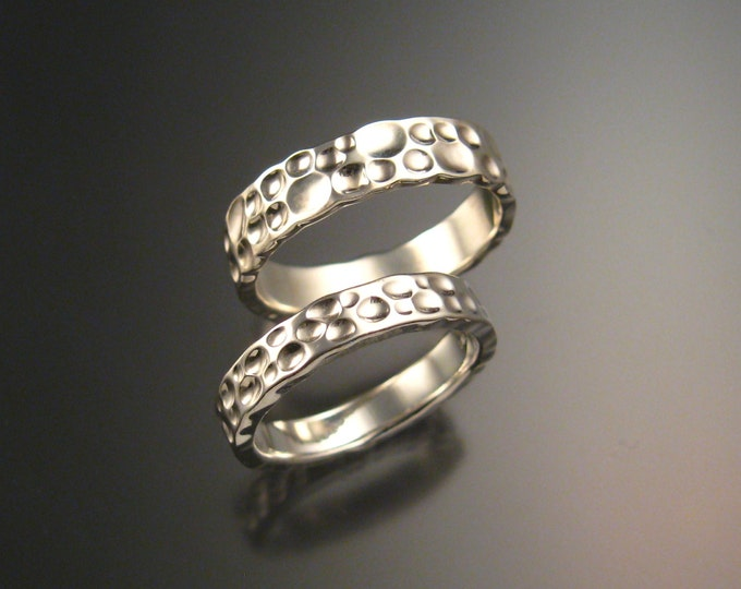 Sterling Silver Moonscape Wedding band set His and Hers Unique Handmade Luna rings