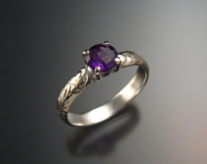 Amethyst Wedding ring Sterling Silver handmade to order in your size