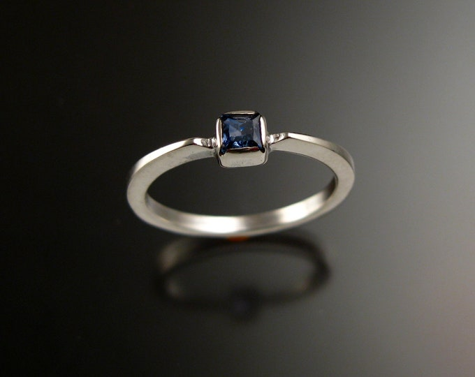 Sapphire 3.5mm square stone ring 14k white Gold and natural deep blue Sapphire stacking ring Made to order in your size
