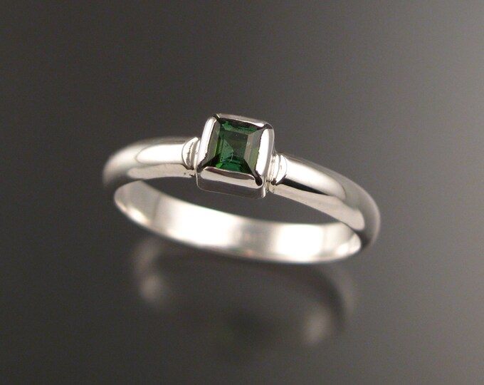 Green Tourmaline ring Sterling silver made to order in your Size