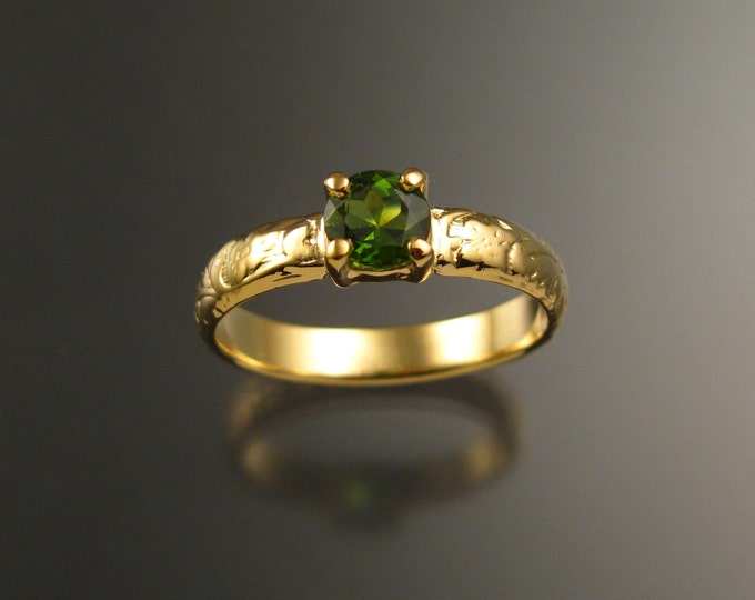 Green Tourmaline Wedding ring 14k Yellow Gold Emerald substitute ring made to order in your size