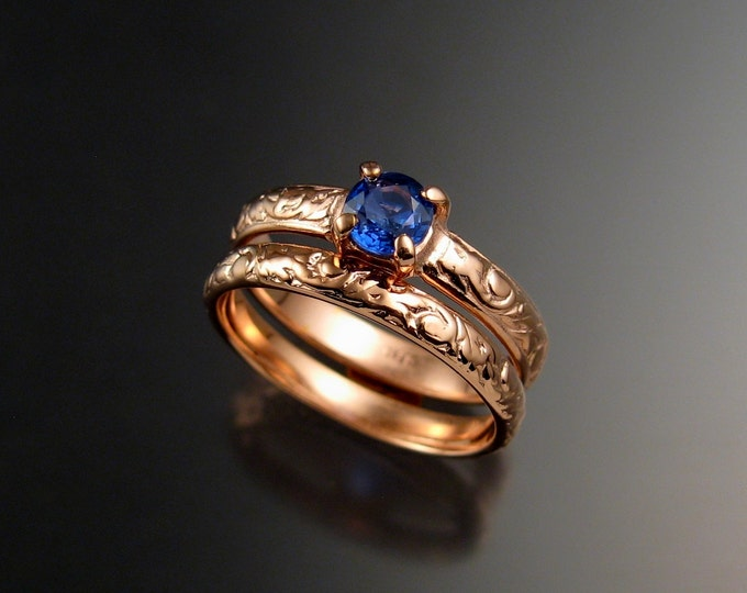 Sapphire Natural Bright Blue Wedding set 14k Rose Gold Victorian rings made to order in your size