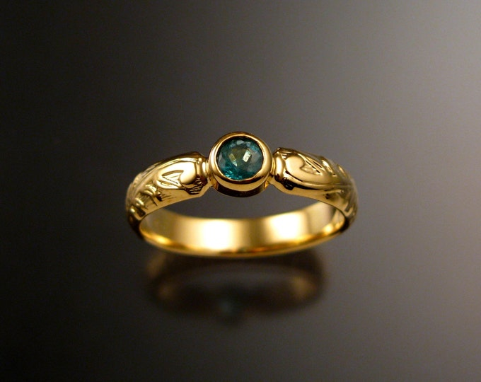 Emerald Wedding ring 14k Yellow Gold Victorian floral pattern with bezel set stone made to order in your size
