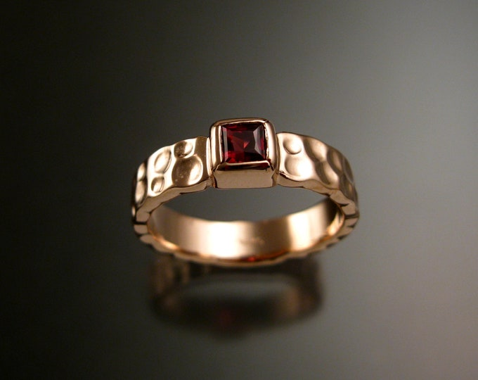 Garnet 4mm square Moonscape band handcrafted in 14k Rose Gold Ruby Substitute ring made to order in your size