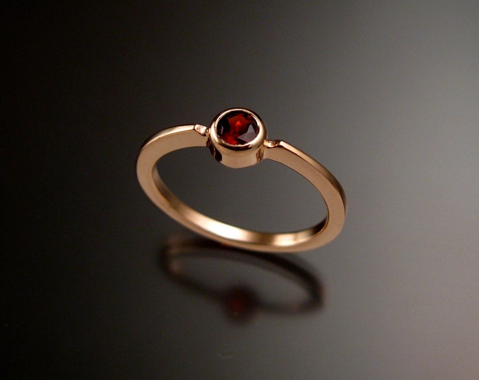 Natural Pink Tourmaline 4mm round stone ring 14k Rose Gold ring Made to order in your size Stackable Mothers ring