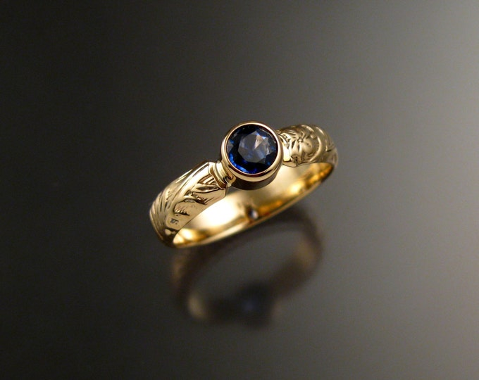 Sapphire Wedding ring 14k Yellow Gold Natural Electric blue Victorian floral pattern bezel set stone size 6 1/4