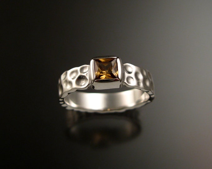 Honey Zircon 6mm square Moonscape ring handcrafted in 14k White Gold Chocolate Diamond substitute ring made to order in your size