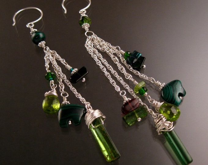 Green Tourmaline Earrings with Malachite and peridot set in Sterling Silver