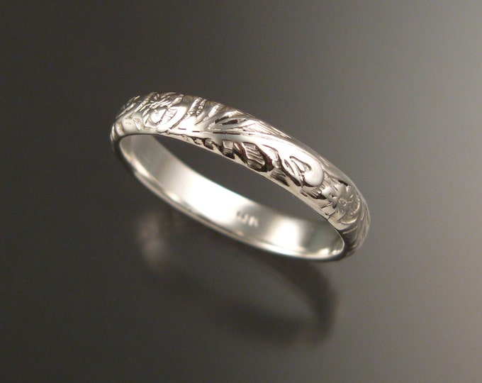 14k White Gold 4mm Floral pattern Band wedding ring made to order in your large size Victorian wedding band