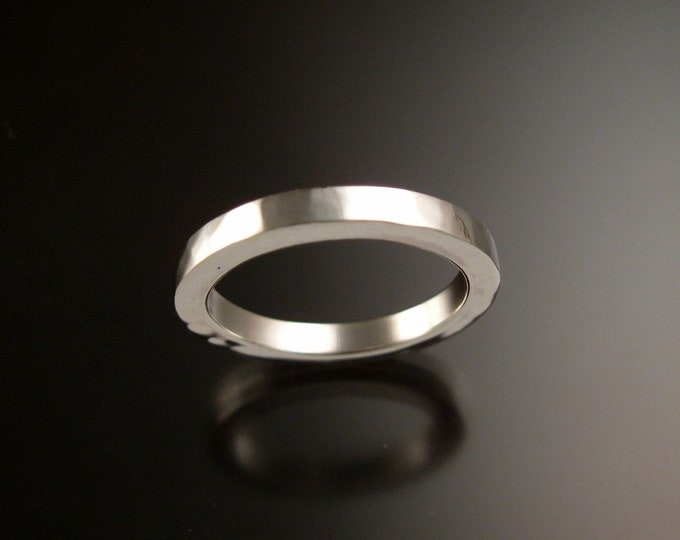 Sterling Silver Square Lightly hammered Wedding band made to order in your size