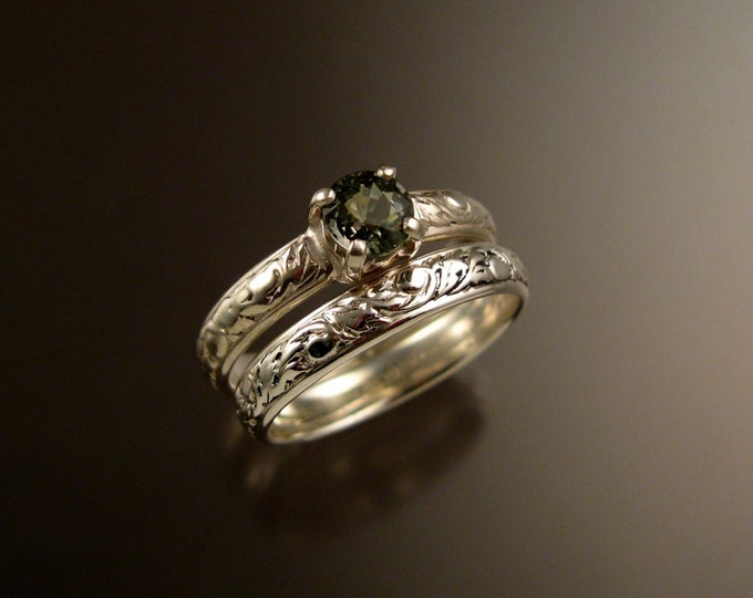 Green Sapphire Wedding set 14k White Gold Green Diamond substitute Victorian ring made to order in your size