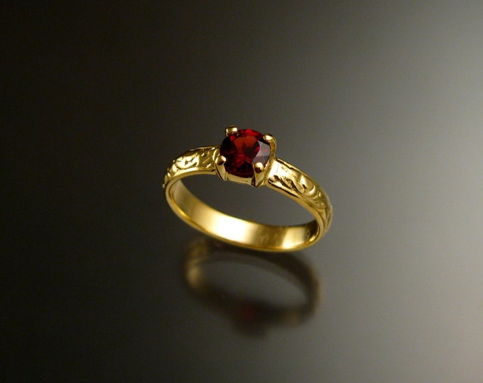 Garnet Wedding ring 14k Yellow Gold Ruby substitute Natural Red Garnet ring made to order in your size