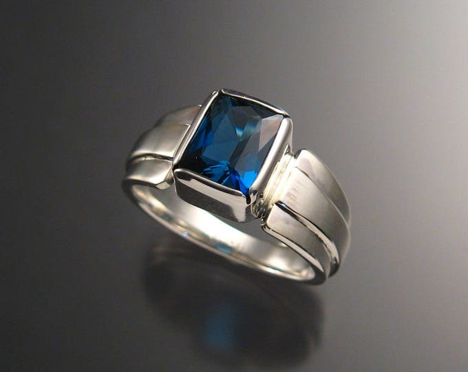 London Blue Topaz ring Large rectangle 9 x 11 mm stone deep blue Sterling silver Sapphire substitute size 9