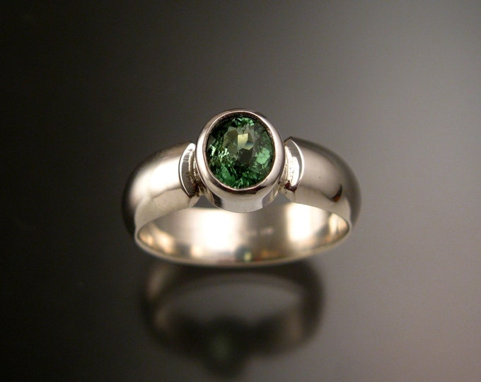 Mint Green Tourmaline ring Sterling silver bezel set Paraiba substitute Wide Low dome band size 8 1/4 ready to ship