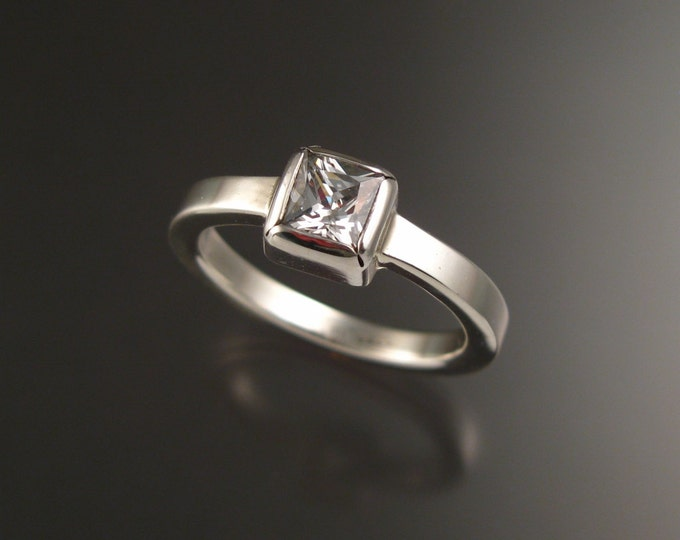 White Cubic Zirconium ring in Sterling Silver made to order in your size