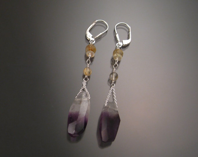 Natural Polished Amethyst Crystal, Opal and Rutilated Quartz earrings Sterling Silver handcrafted