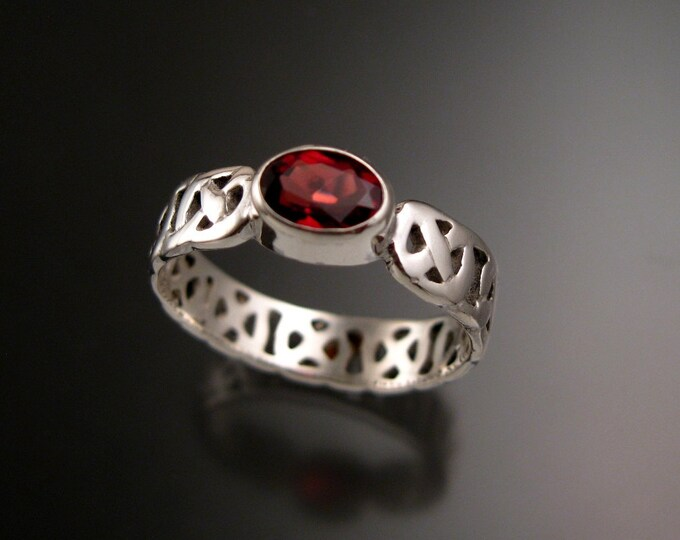 Garnet Celtic band Wedding ring handcrafted in 14k White Gold Ruby Substitute ring made to order in your size