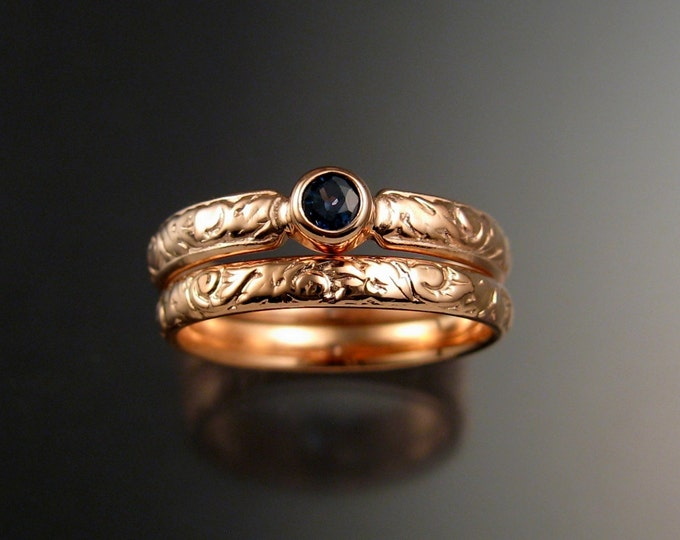 Sapphire Wedding set 14k rose Gold Victorian bezel set two rings made to order in your size