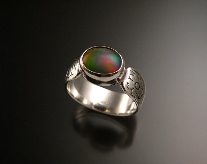 Opal Sterling Silver handmade wide Victorian floral pattern band ring east west bezel set stone size 8 1/2