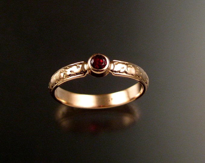 Spinel Natural Ruby red Wedding ring 14k rose Gold Victorian bezel set stone wedding ring made to order in your size