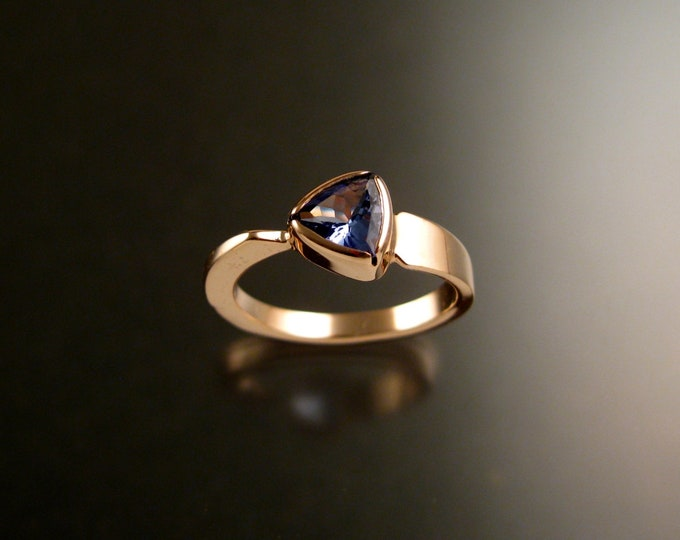 Tanzanite triangle ring 14k Rose Gold bezel set Stone Asymmetrical setting made to order in your Size