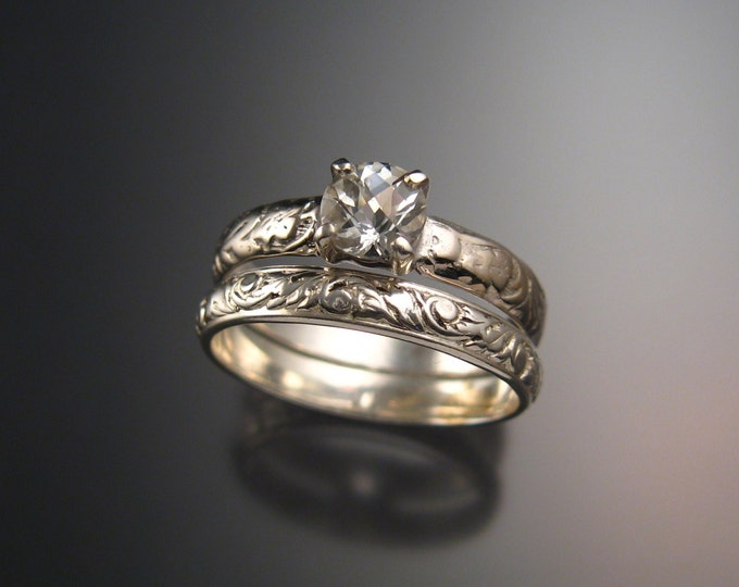 White Topaz Wedding set 14k White Gold Diamond substitute ring made to order in your size