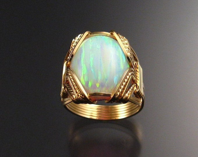 Lab created Opal ring 14k Gold-filled Wire wrapped ring handmade in your size