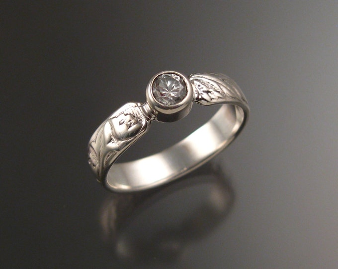 White Sapphire Grooms 14k White Gold flower and vine pattern Natural wedding ring made to order in your size Victorian Diamond substitute