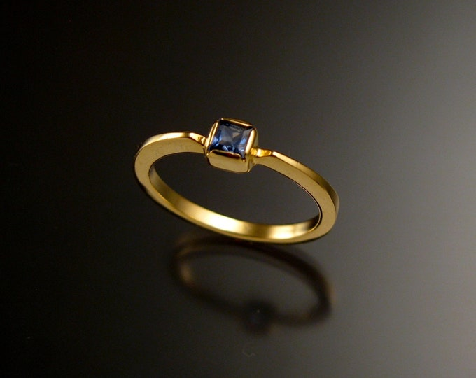 Sapphire 3.5mm square stone ring 14k Yellow Gold and natural deep blue Sapphire stacking ring Made to order in your size
