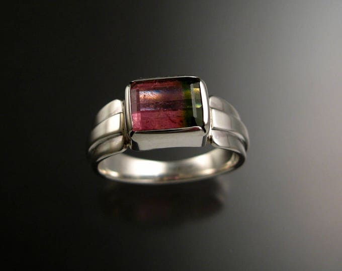 Watermelon Tourmaline Ring Sterling silver Size 9 large natural stone handmade ring ready to ship