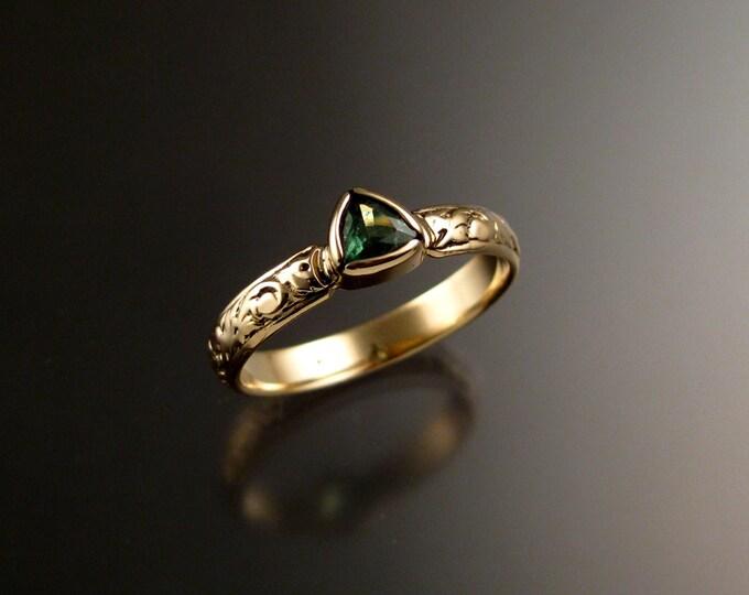 Tsavorite Garnet Green Garnet Triangle Wedding ring 14k Yellow Gold Victorian bezel set stone ring made to order in your size