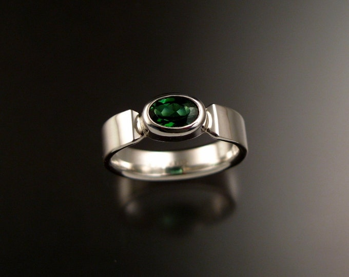 Green Tourmaline Ring oval cut Sterling Silver Emerald Substitute ring made to order in your size
