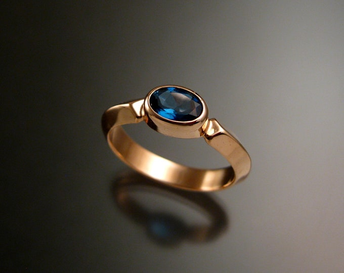 London Blue Topaz 14k Rose Gold handmade triangular band ring with bezel set east west stone stacking ring made to order in your size