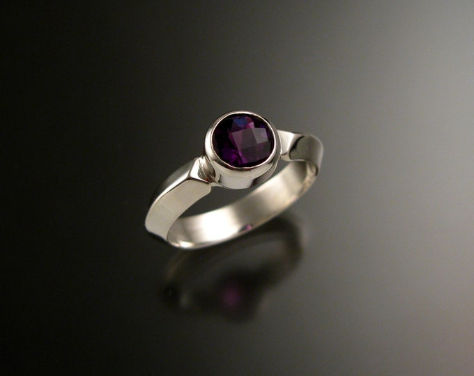 Amethyst ring 14k white Gold Triangular band Made to order in your size