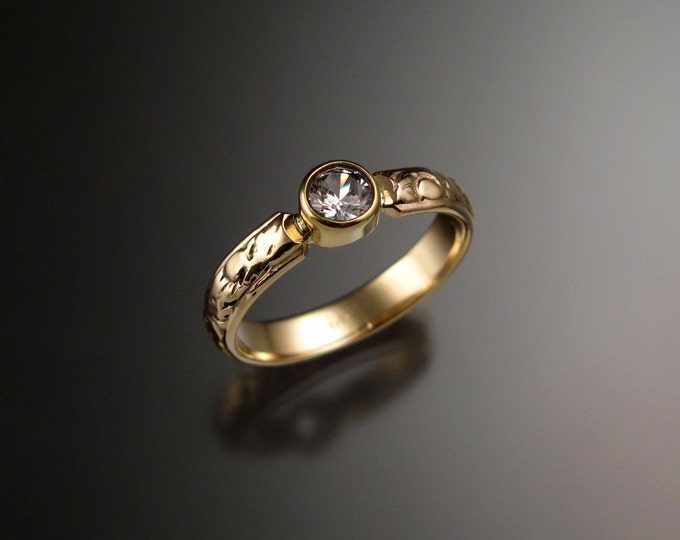 White Sapphire Wedding ring 14k Yellow Gold Victorian bezel set Diamond substitute ring with 4mm round stone made to order in your size
