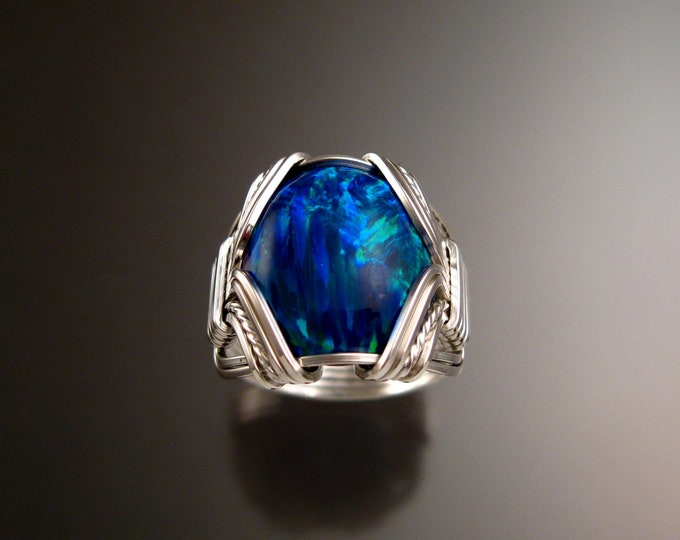 Deep blue Lab created Opal ring handcrafted in Sterling Silver made to order in your size