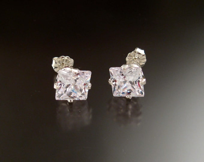 Cubic Zirconia White Square Post Earrings Sterling Silver very large scissors cut Square Diamond substitute Cubic Zirconium