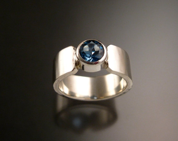 Blue Topaz Round Sterling Silver ring handmade to order in your size