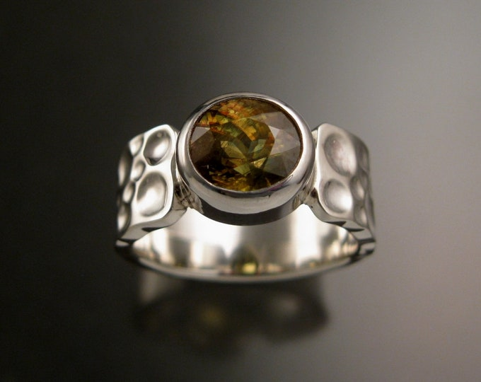 Sphene Ring Sterling Silver Chocolate Diamond Substitute Moonscape band large oval bezel set stone size 11