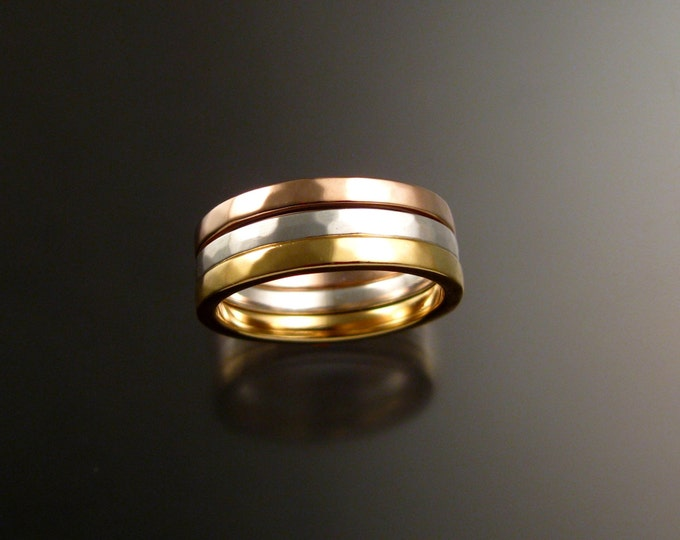 Stackable 14k White, Yellow and Rose Gold three Band gold ring set