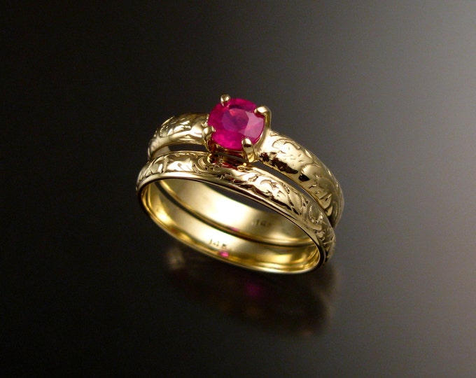 Ruby Wedding ring set 14k Green Gold rings made to order in your size Victorian floral pattern band Engagement rings